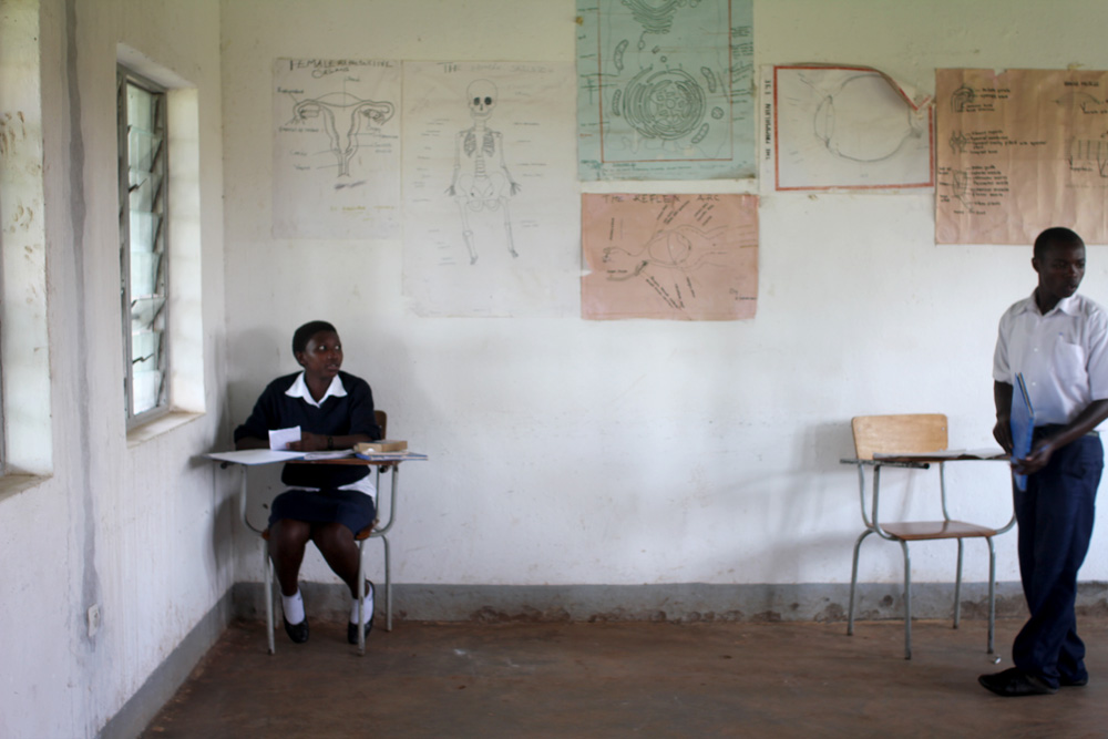 A girl studies sciences at Cornerstone Leadership Academy, Rwanda