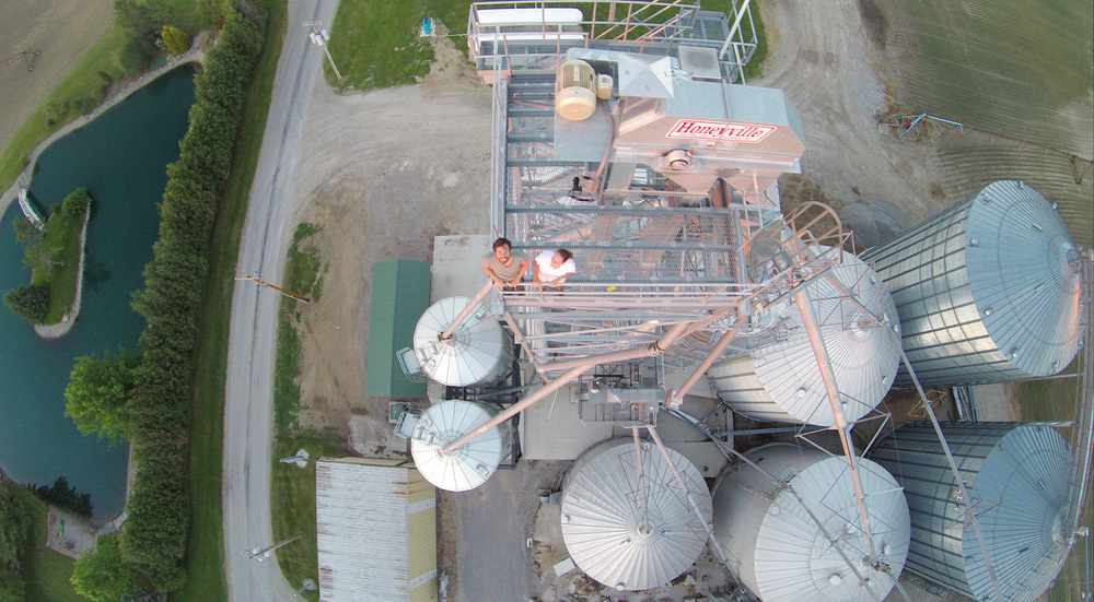 A picture of Eric and I atop the grain bins, taken by my brother's drone