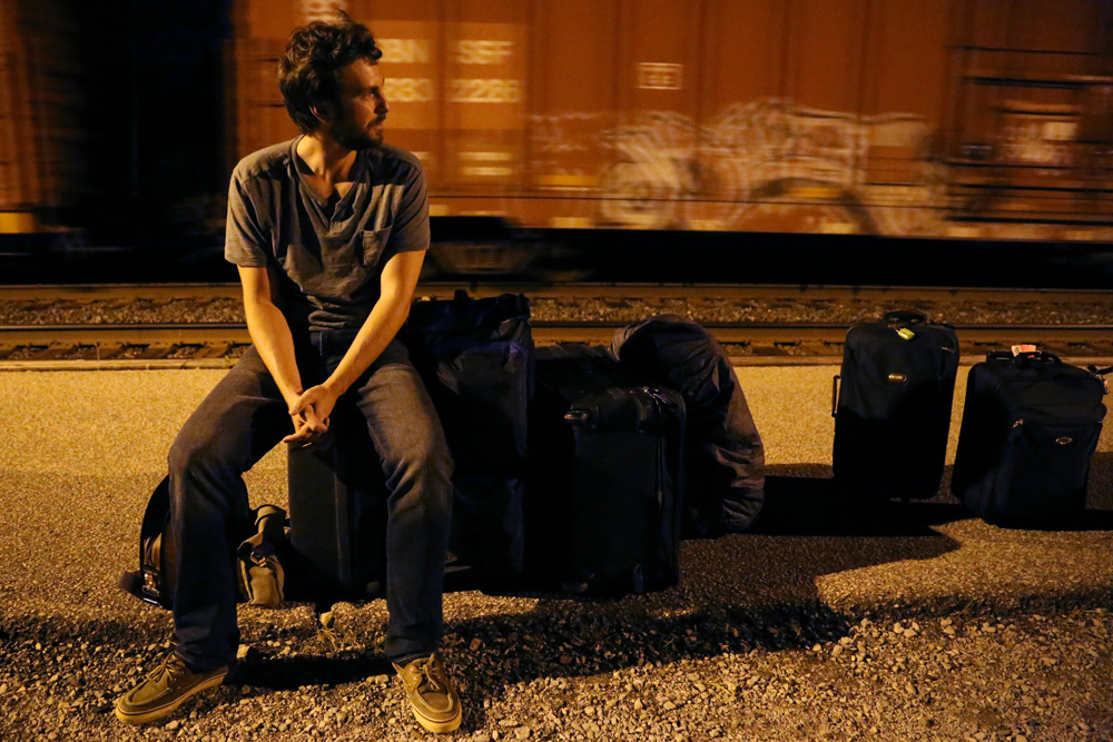 Eric, waiting for the train will all our luggage