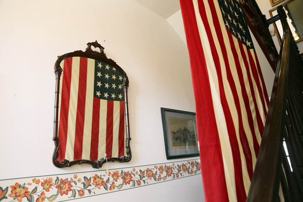 American flag in a historical house downtown Leesburg