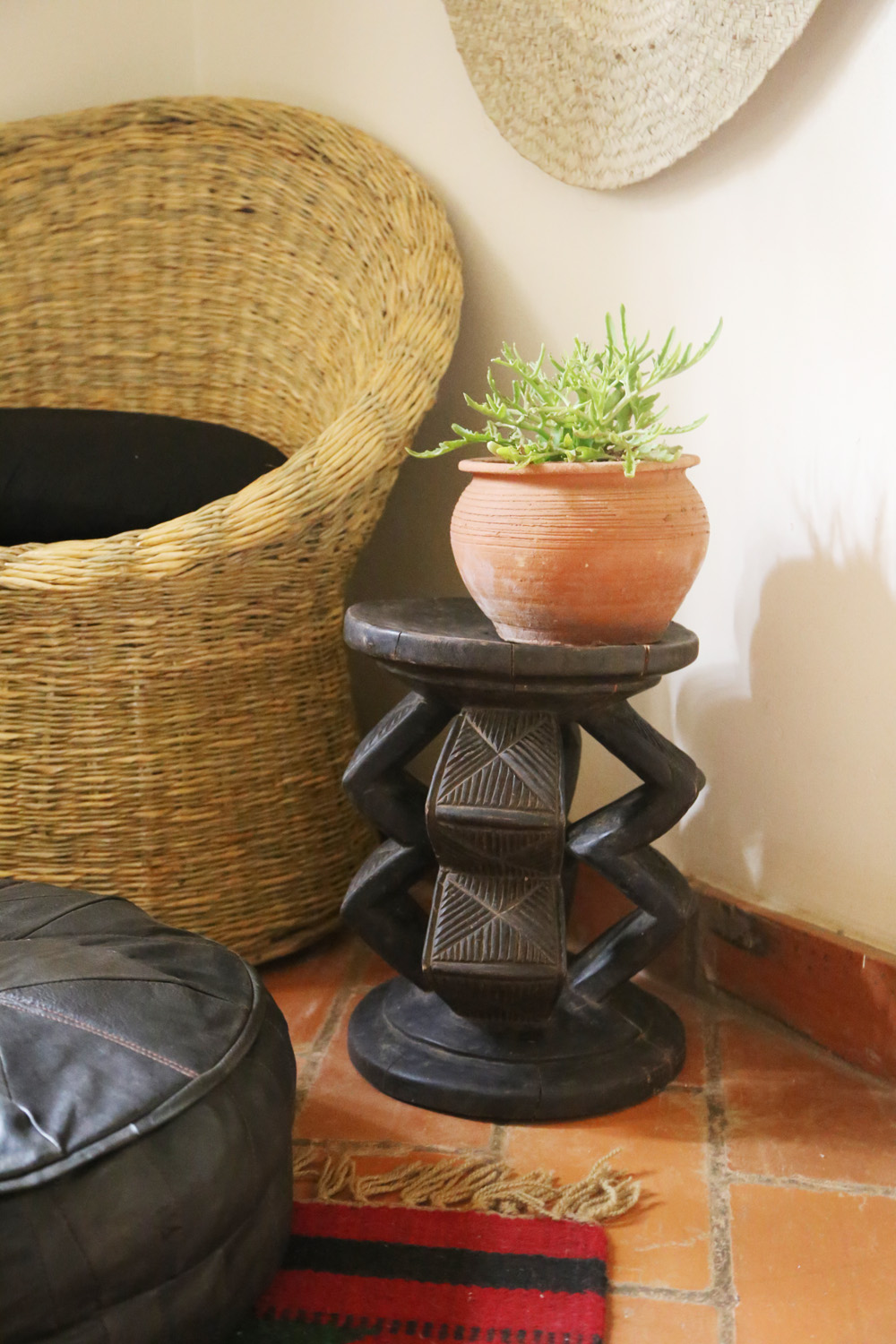Congolese carved wooden stool