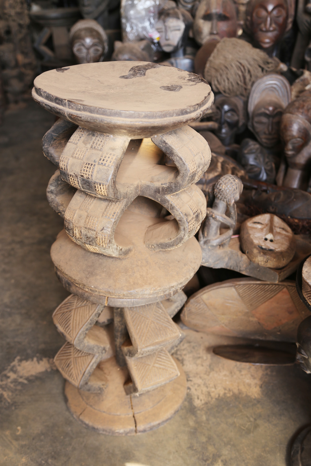 Congolese carved stools