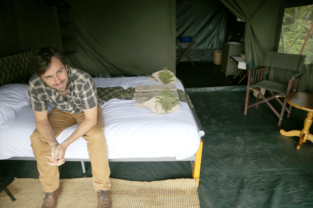 Eric in our tent mansion