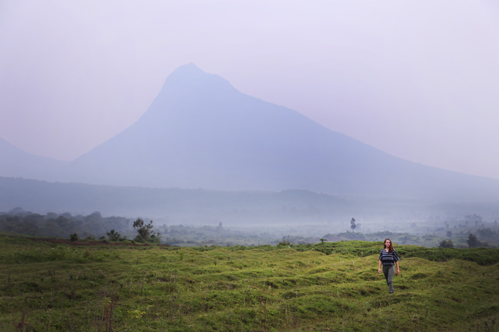 Congo's lush fields and our view of Mikeno Volcano