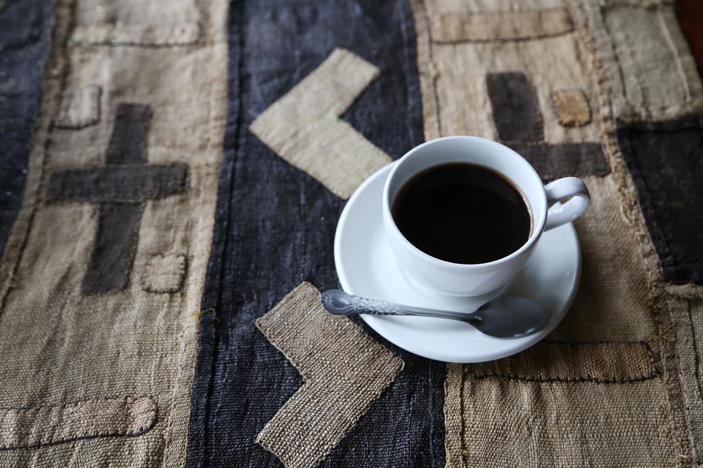 Coffee and Congolese kuba cloth