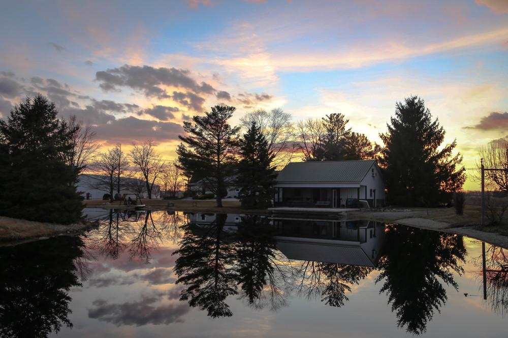 cabin at sunset
