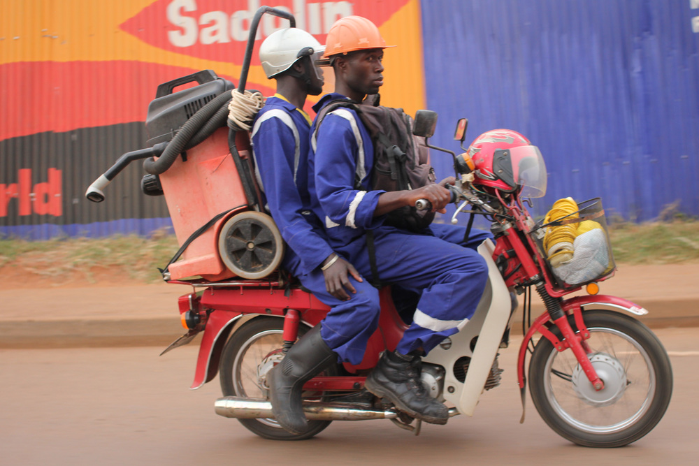 going to work on a boda