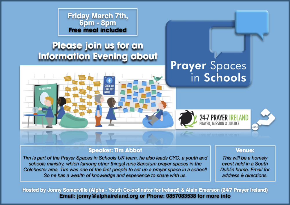 This event is open to youth workers, children's workers, teachers, students, anyone interested in finding out more about how to run a prayer space in a school. We would love to see you there, email us for more info