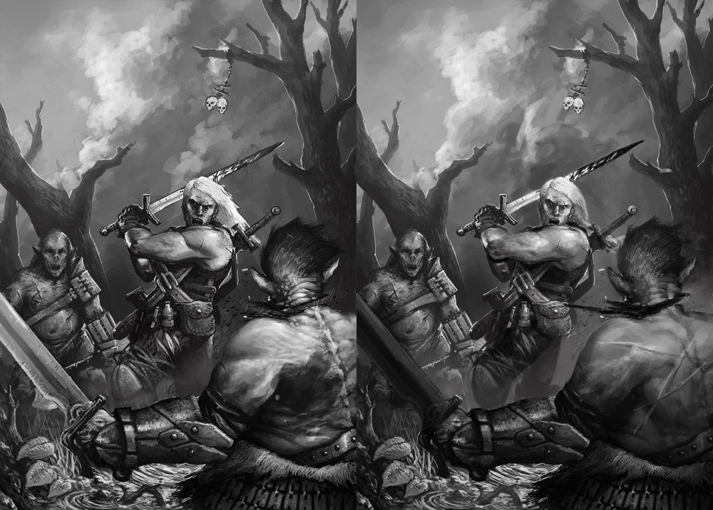 Session 8 -   PSD file     Left:  Charlie Gold   Right:  Peter Mohrbacher