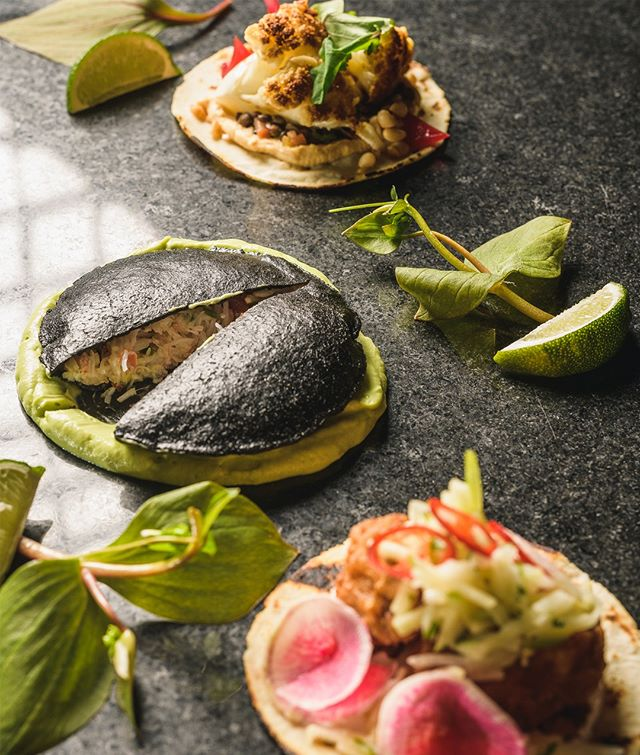 "Check out this insane trio from @pierrearichard at Little Louis' for @monctontacoweek -  delicious sweetbreads in front, crab in a handmade squid ink tortilla ""pocket"", and a gorgeous vegetarian option in back. wowza. -- Big thanks to @ivanscamera for sponsoring the photography for this project!"