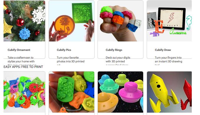 Cubify   3Dプリンタの雄、3D systemsのCubeに対応したアプリ群が充実しまくっています。指輪もつくれるし、ネームタグ、写真プレートなど。玄人にはちょっと物足りないかもしれませんが、「3Dプリンタでできた何かを作りたい!」という方にはぴったりかも。