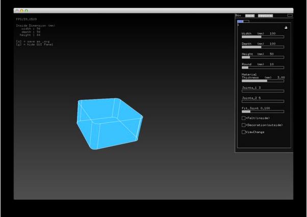 Cutting Box Toolの画面。svgで吐き出す用のページもあります。