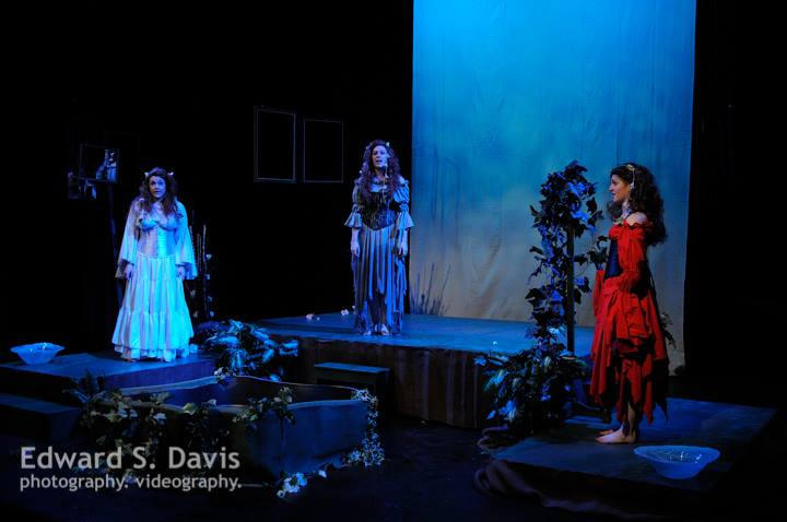 Peabody Chamber Opera performs Ophelia Forever in February 2014: Nicole Cascione, Elizabeth Kirstein, Lisa Perry as Ophelias 1, 2, and 3.