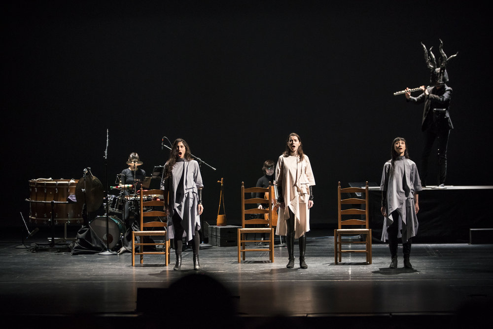 photo by Todd Rosenberg for the Chicago Symphony Orchestra, Apr 2, 2018. The world premiere of   Savior   at the Harris Theater of Music and Dance. From left: Cynthia Yeh, percussion; Eliza Bagg, soprano; Katinka Kleijn, cello; Molly Netter, soprano; Hai-Ting Chinn, mezzo-soprano; Timothy Munro, flute.