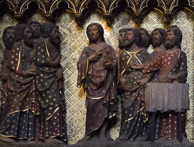 """The Disciples give Fish to the Risen Lord to eat"" from the medieval polychromed choir screen of Notre Dame de Paris. Image by Lawrence OP via Flickr; licensed under CC BY-NC-ND 2.0."