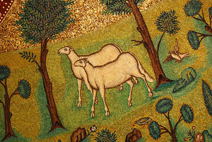 Sheep in paradise, from   Art in the Christian Tradition  , a project of the Vanderbilt Divinity Library, Nashville, TN.