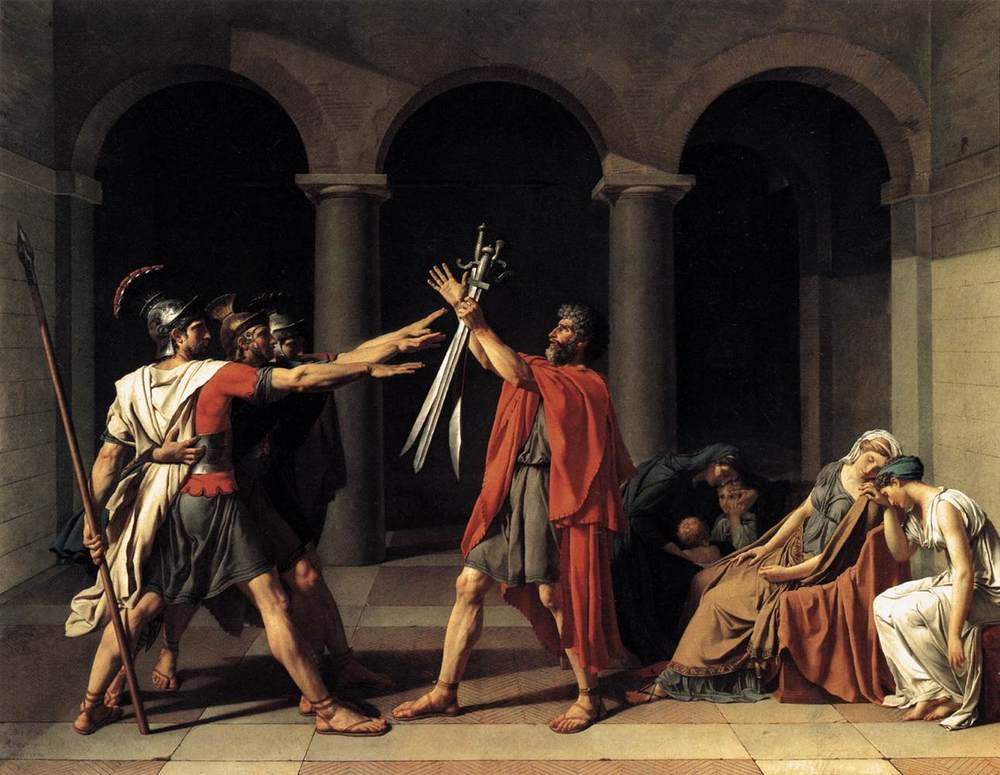 """The Oath of the Horatii"" Jacques-Louis David's 1784  The painting was an 18th century touchstone on the ideals of ""civic virtue"" which became foundational political theory. Source: Wikimedia"