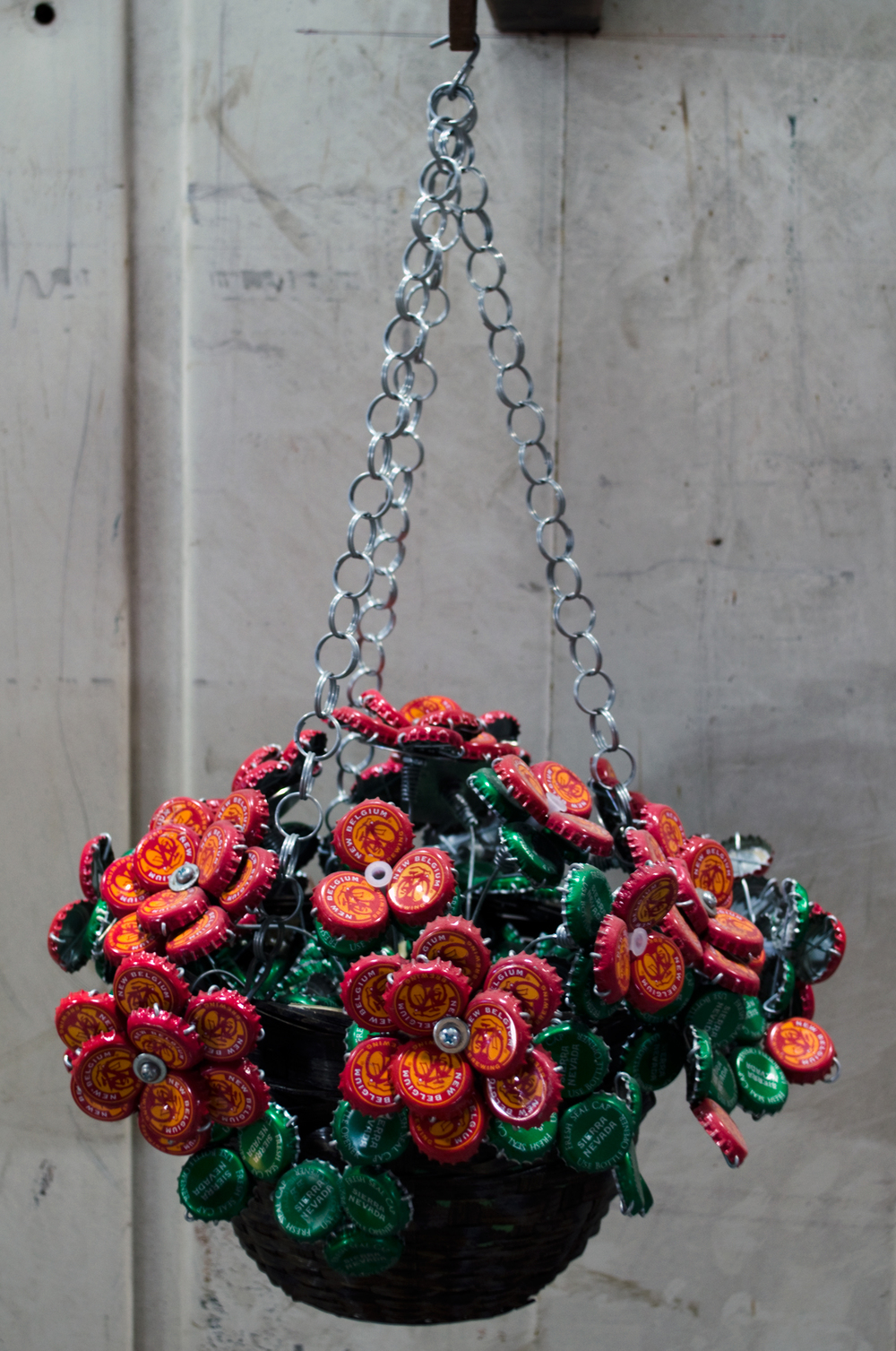 Red Hanging Flower Basket