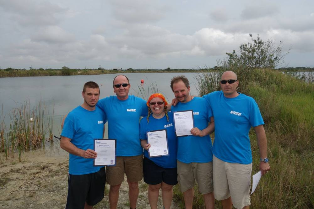 We Did It! EASE's January 2016 Class of PADI Open Water Instructors with Awesome Platinum Course Director Philippe Yersin!  Photo Credit, Philippe Yersin, 2016