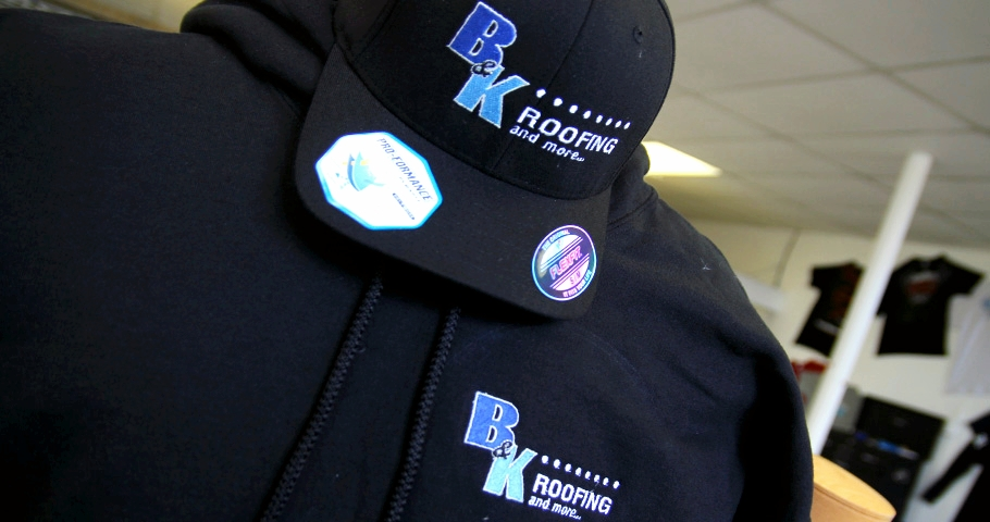 Embroidery | B&K Roofing Hat & Sweatshirt | Hanover, PA