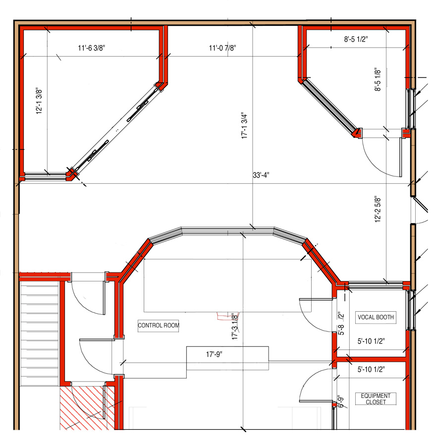 Professional recording studio floor plan for Recording studio flooring