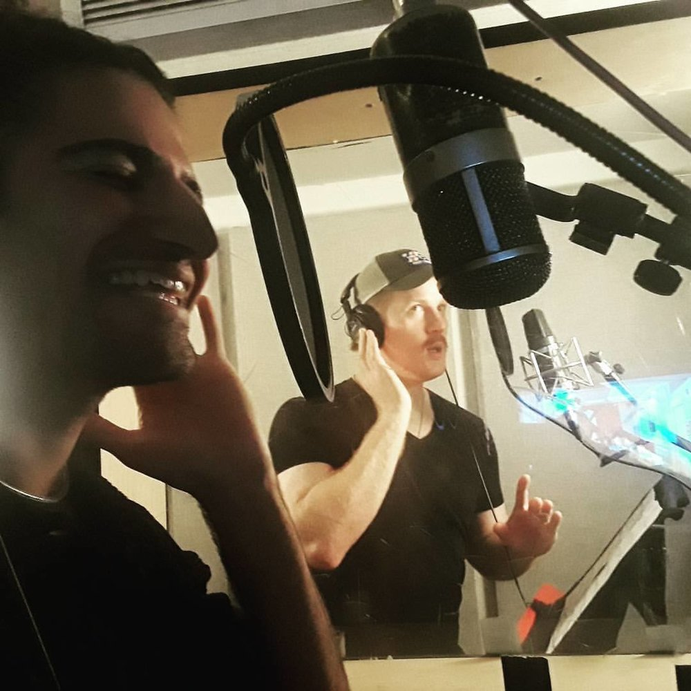 Alex Thomas and Sean Griffin recording vocals for   Merce   at Dubway Studios