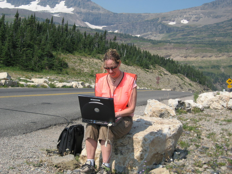 Lisa Ballard collecting traffic data on the Going to the Sun Road.JPG