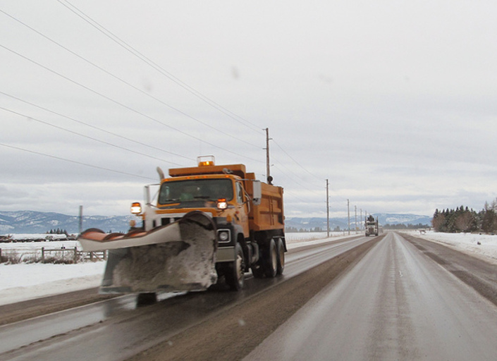 Snow plow on Bozeman Frontage Road