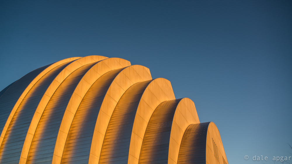 Form and function: the Kauffman's exterior bathed in golden hour light