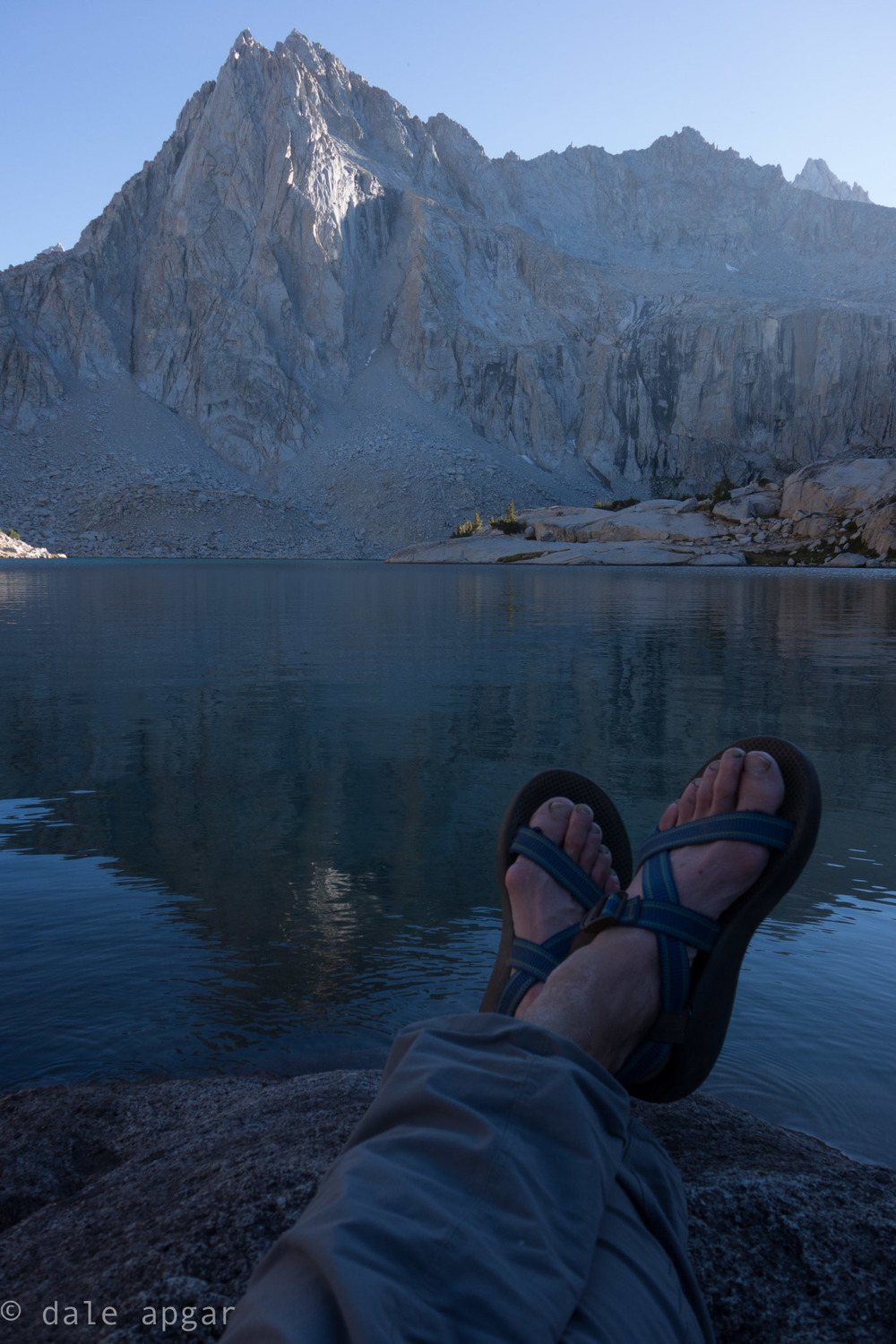 In case you're wondering, Hungry Packer Lake is stunning, and in the summer weather, chacos are perfectly suitable for approach