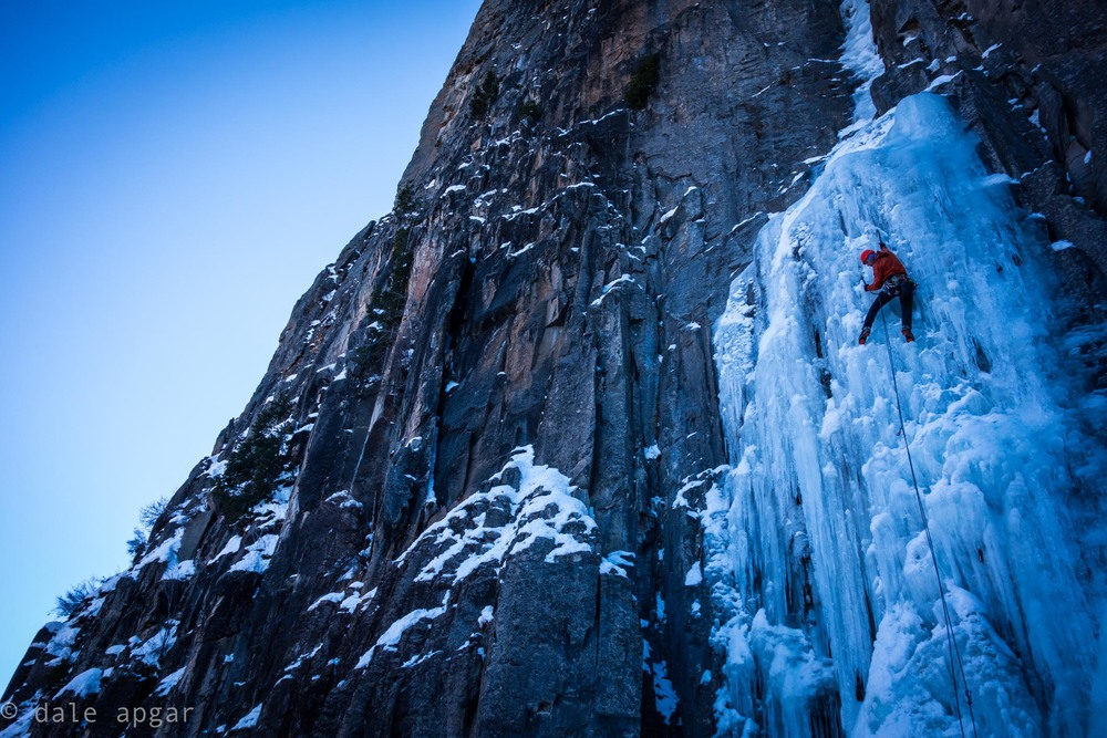 Mike Collins taking care of the first pitch on Ames Ice Hose outside of Telluride, CO