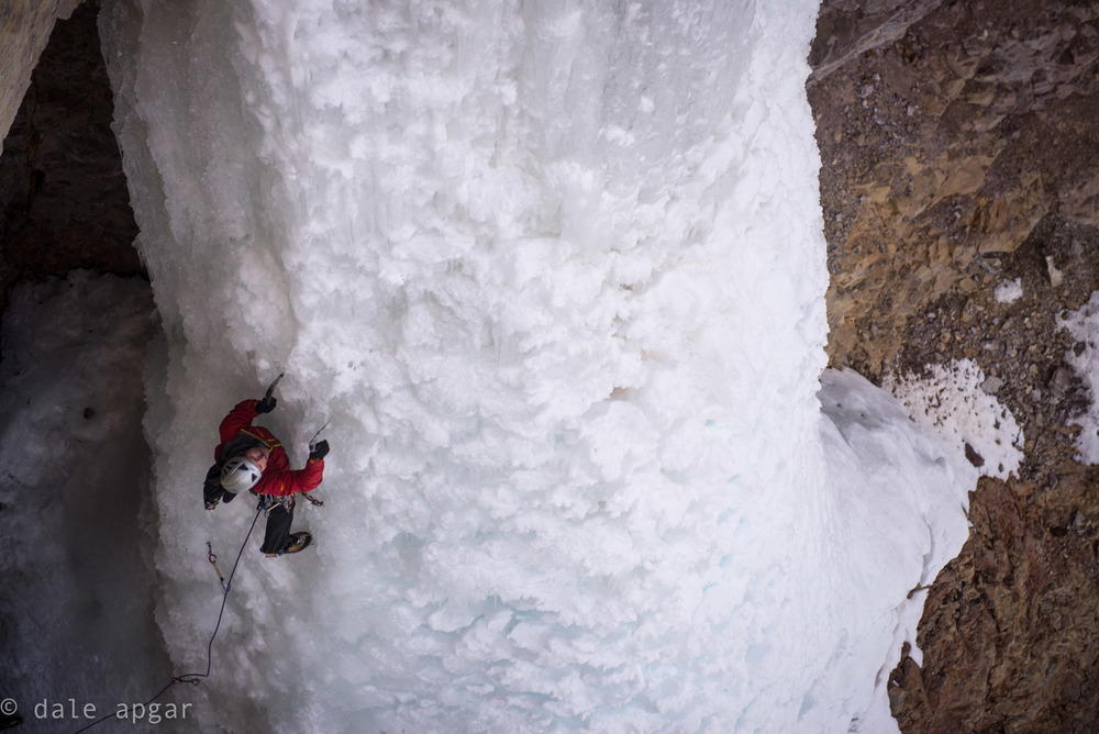 Drew Smith getting up the  Santa Claus Pillar  in Silverton, CO