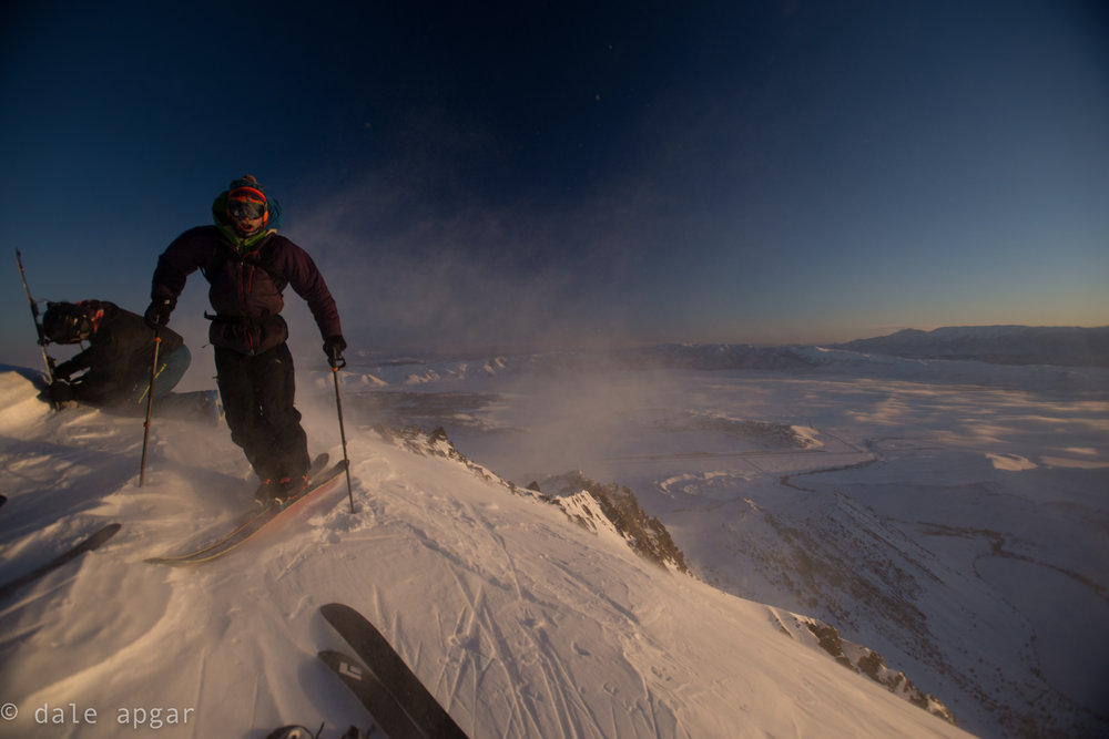 The summit after poaching a skin track on Laurel during a pink powder patrol. In a word, brisk