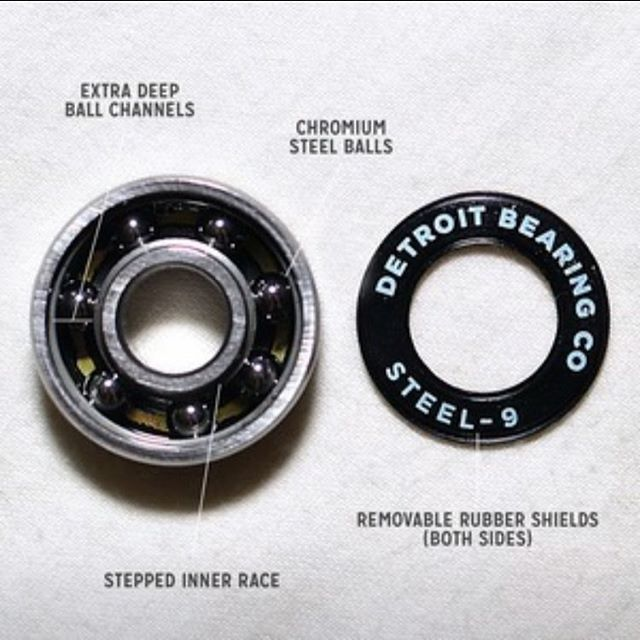 "Our steelies have a stepped inner race (both sides) that creates a ledge that helps to keep dirt out, so your bearings last longer.  Extra deep ball channels help prevent bearing ""sideways blowouts"", and produce a smoother ride with a more solid feel. The inner race channel is 15% deeper than the ""super r"" brand.  Nylon ball retainer for light weight and low friction. Rubber shields on both sides. Low friction, removable, and keeps dirt and dust out. And yes, dust does exist on the non-visible side, produced from the axle rubbing against the bearings! That's why we put a shield on BOTH sides, so your bearings last longer. We never understood why some of the leading brands don't do this. .50 Caliber Spacers. A full 1/2 inch diameter (.50""), these heavy duty spacers are 16% thicker than normal, which means they won't deform or squash, and they dissipate heat better. #skateordie #skatelife #detroitbearingco #detroit #skateboard #inline #inlineskate #rollerderby #rollerblade"