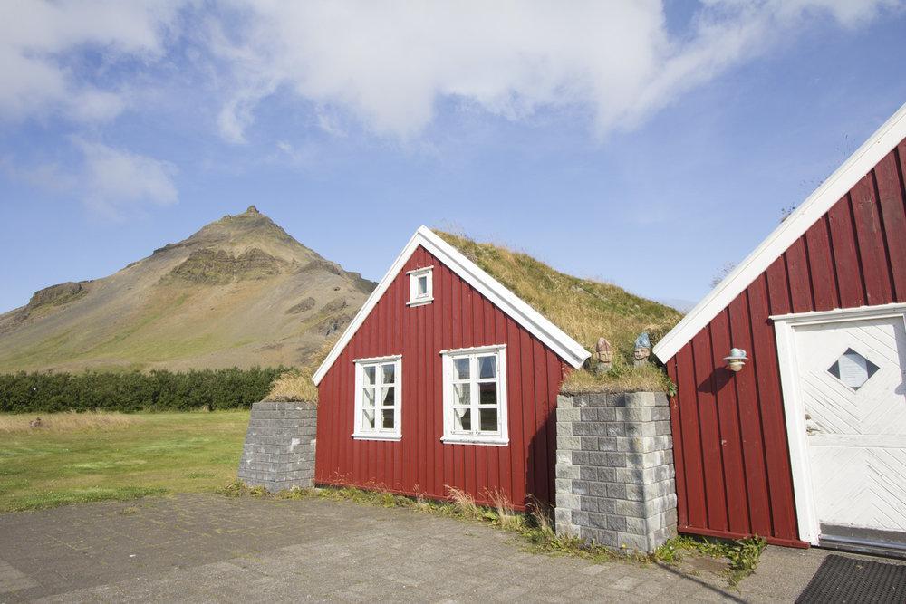 Turf houses at our campsite in Arnarstapi