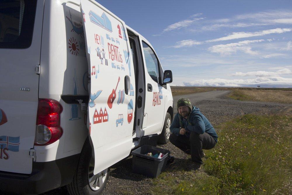 Scott making roadside coffee. One of the perks of having a campervan rental.