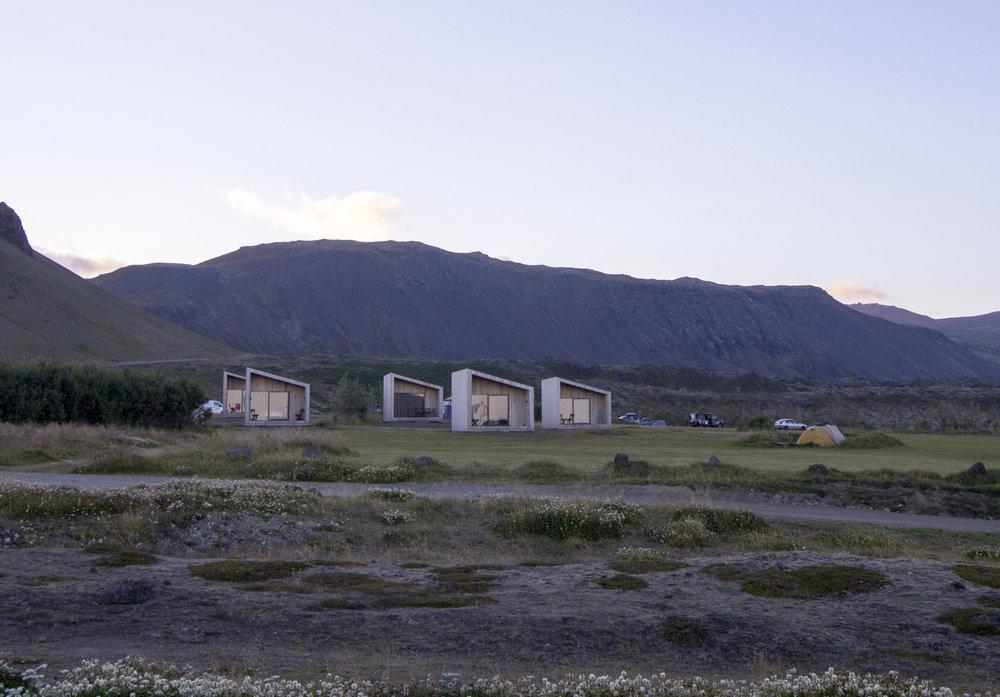 Modern cottages on the campground at Arnarstapi