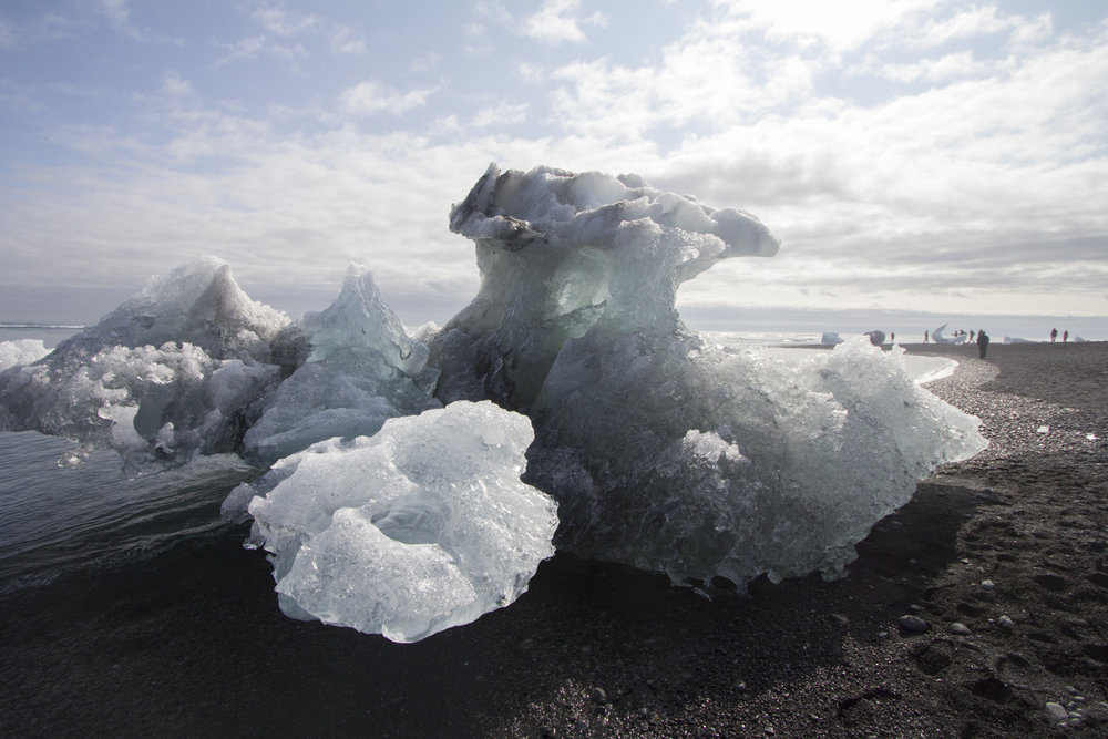 Ice washes up on shore at Diamond beach