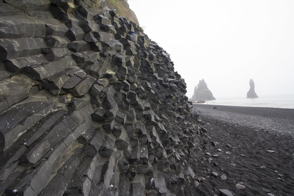 Columnal basalt at the black sand beach in Vik.