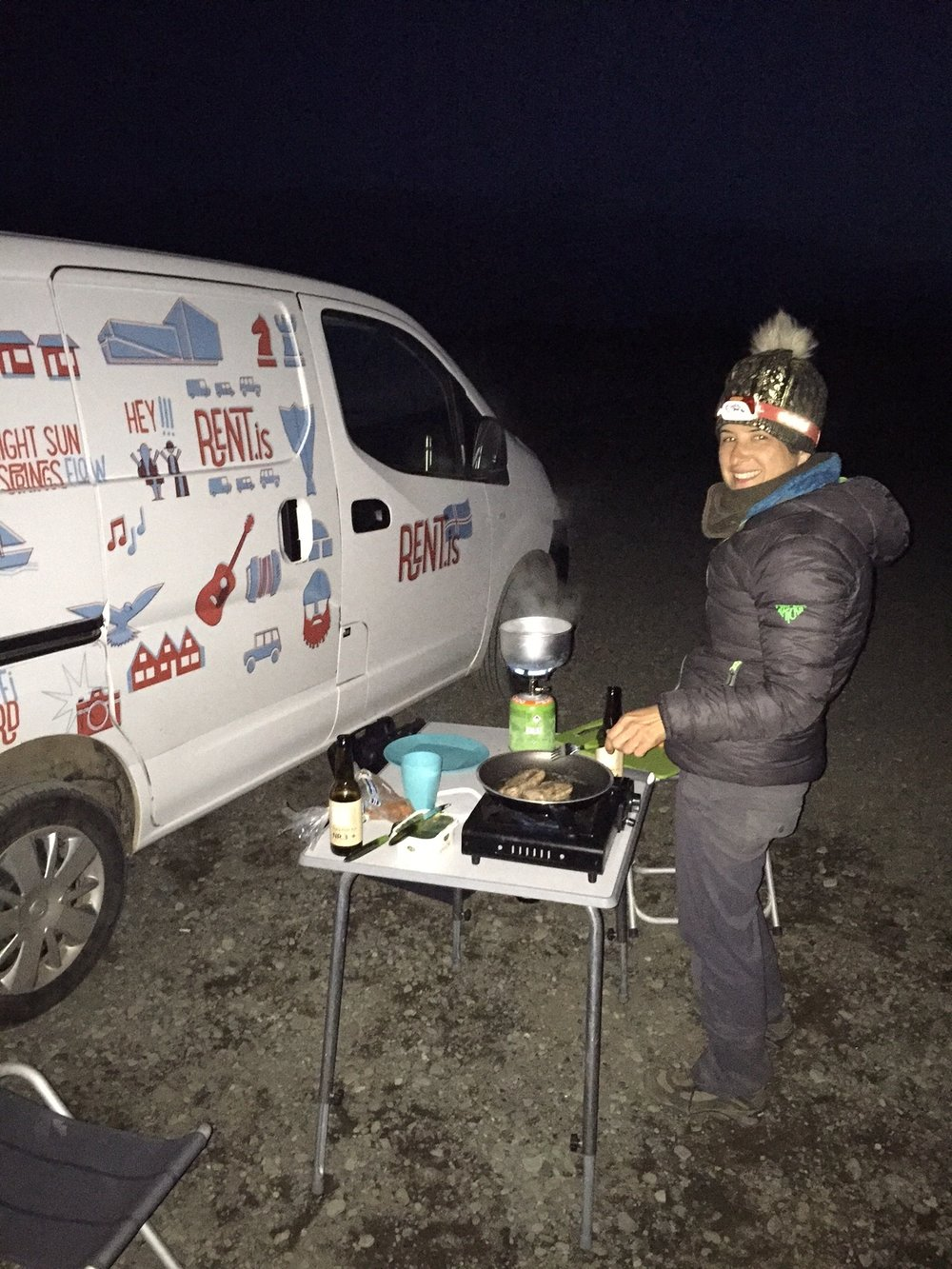 Making lamb dinner at Jokulsarlon.
