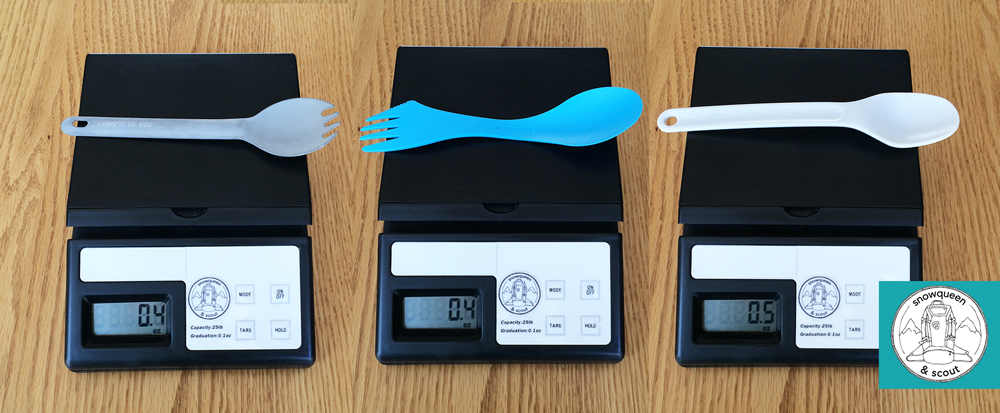 (L to R: Sea to Summit spork, Light My Fire Spork, GSI Pouch Spoon)