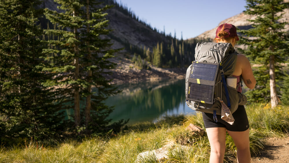 Jaymie is sporting her Gossamer pack with the  Goal Zero solar charger .