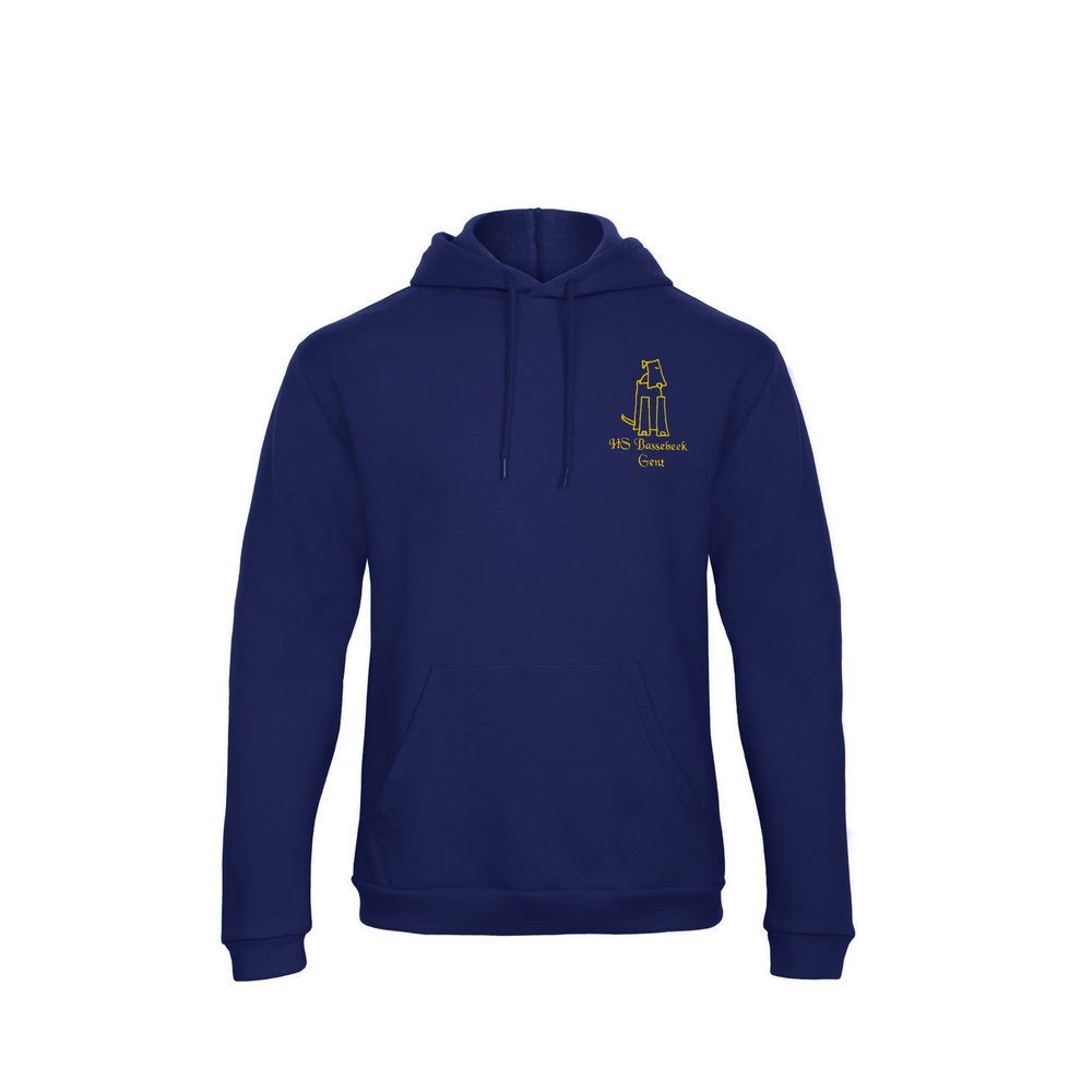 Hoodie- 32 € - Hoodie in marineblauw met het geborduurde logo van Hondenschool Bassebeek.280 g/m², 80% katoen, 20% polyester, dubbele capuchon met rijgkoord, ingezette mouwen, ribgebreide manchetten en boord met elastan, opgezette kangoeroe zak, modieus model, rondgebreid.Verkrijgbaar in de maten M, L, XL en XXL.