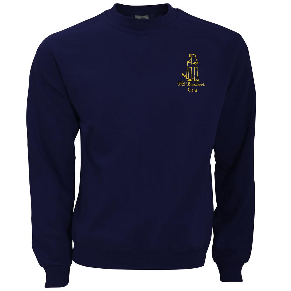 Sweater - 35 € - T-shirt in marineblauw met het geborduurde logo van Hondenschool Bassebeek.Verkrijgbaar in de maten M, L en XL.