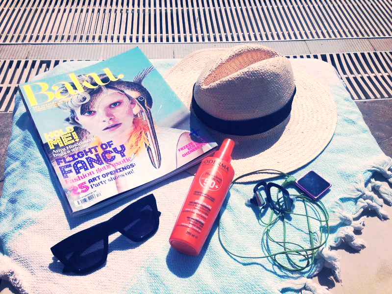 Some pool essentials. This Baku mag is a publication of Conde Nast that I found a copy at Heydar Aliyev Center. Mostly  art related articles than fashion.  P.s: Don't forget tp protect your skin girls and boys!    Bazı havuz gereklilikleri. Baku dergisi bir Conde Nast (Vogue'u cıkartan yayın kurulusu) urunu, Heydar Aliyev Merkezi'nde bir kopya bulmustum. Modadan daha cok sanatla ilgili.     Not: Cildinizi gunesten korumayı ihmal etmeyin bayanlar ve baylar!   Hat /  Sapka:  H&M  Sunnies /  Gozluk:  Forever21  Lotion /  Losyon:  Bioderma Photoderm Bronze 50+