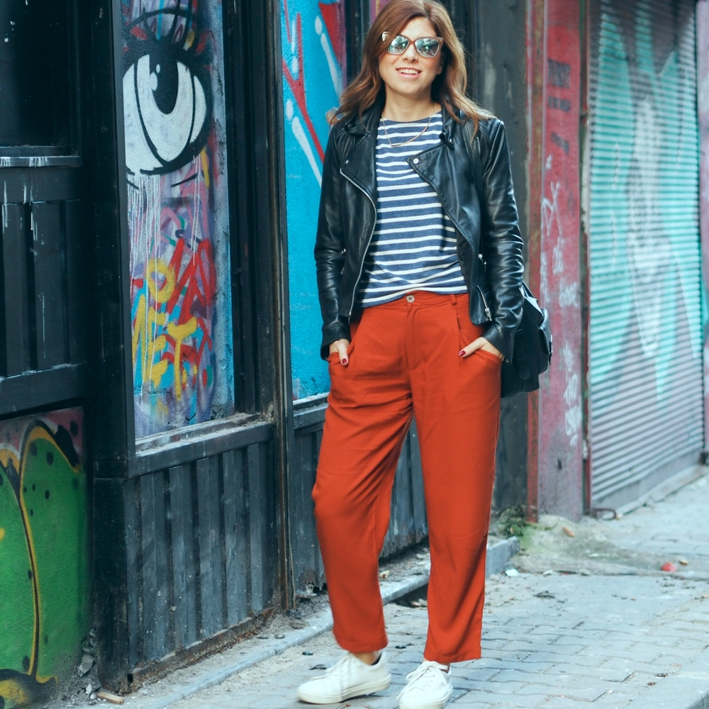 Pants /  Pantolon:  Zara   Top & shoes /  Ust ve ayakkabılar:  Topshop  Jacket /  Ceket:  Mango  Sunnies /  Gozluk:  Rebecca Minkoff  Necklace /  Kolye : H&M