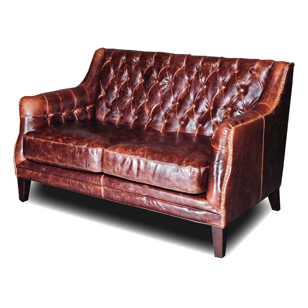 Tufted-leather-settee