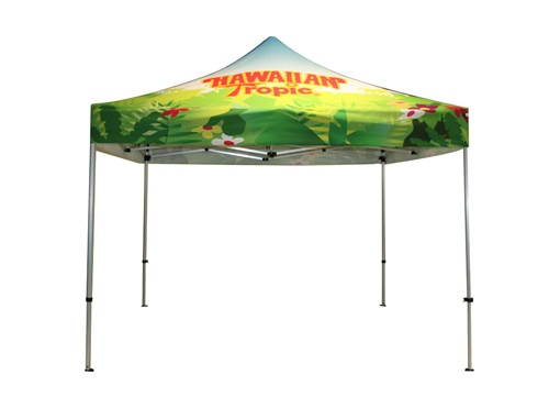 Full color canopy with top graphic, walls and backdrop not included in base price.