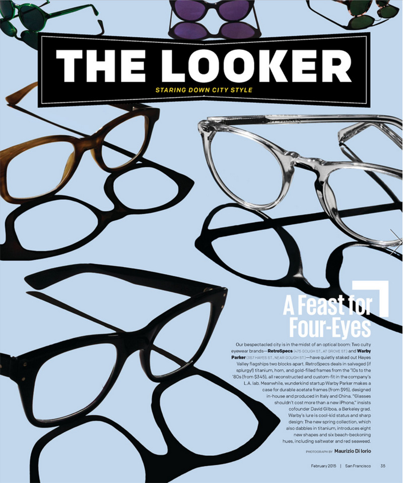 WARBY PARKER EYEGLASSES & SUNGLASSES FOR SAN FRANCISCO MAGAZINE