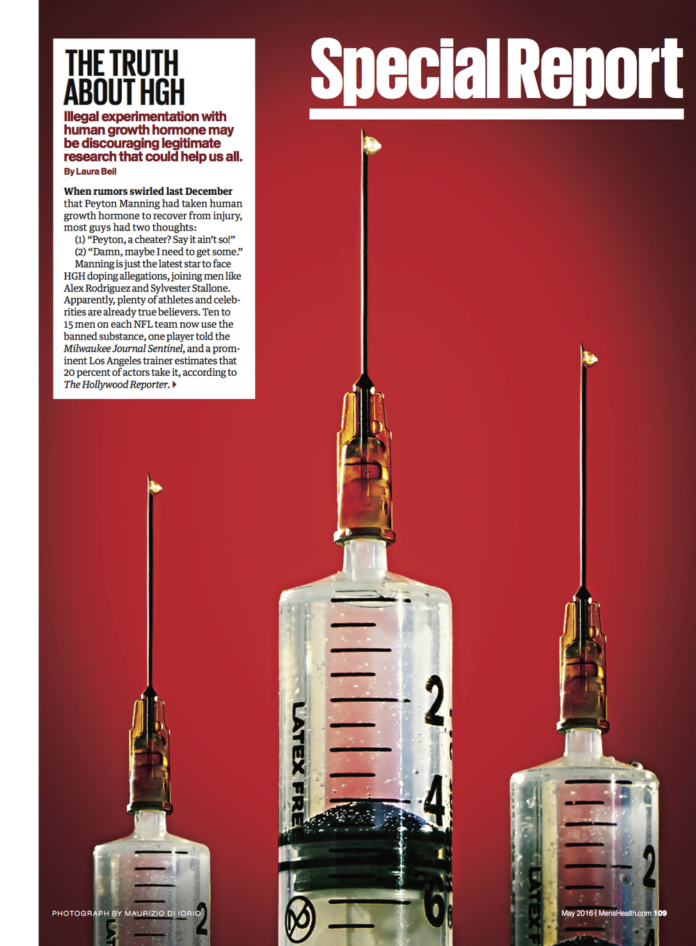 The Truth about HGH  for  Men's Health (May 2016 Issue)